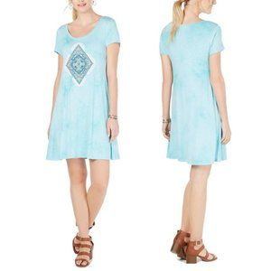 Style & Co Teal Graphic Short Sleeve Shirt Dress